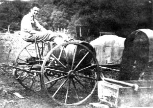 Ray Gesell, age 19, sitting atop a sprayer.