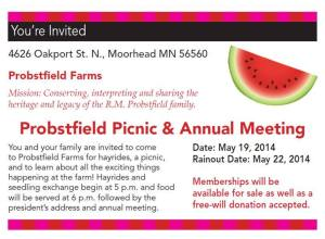 The 2014 Spring Picnic & Annual Meeting will be held on Thursday, May 22, from 5:00-7:00pm.